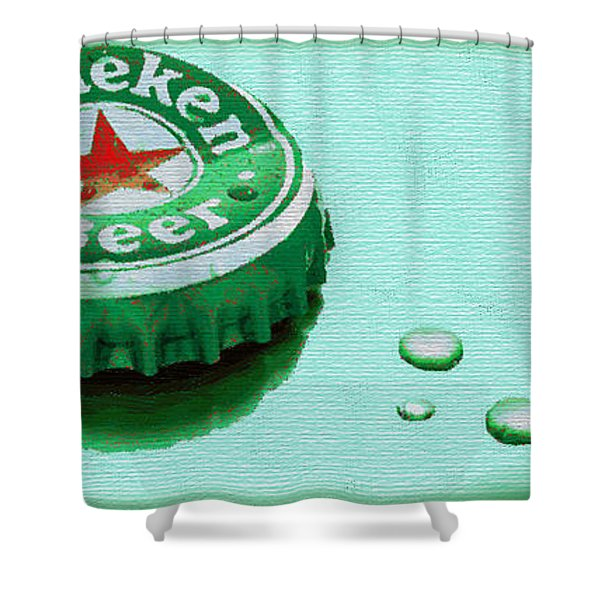 Heineken Cap Green Shower Curtain