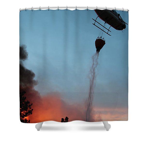 Helicopter Drops Water On White Draw Fire Shower Curtain