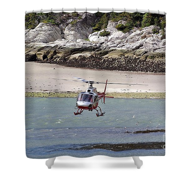 Helicopter Landing In Skagway Shower Curtain