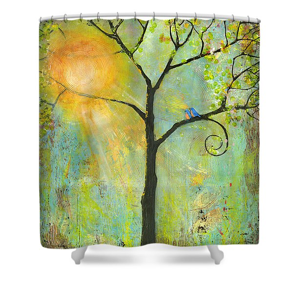 Hello Sunshine Tree Birds Sun Art Print Shower Curtain