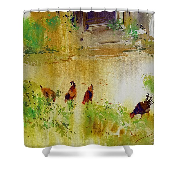 Hen Pecked Shower Curtain