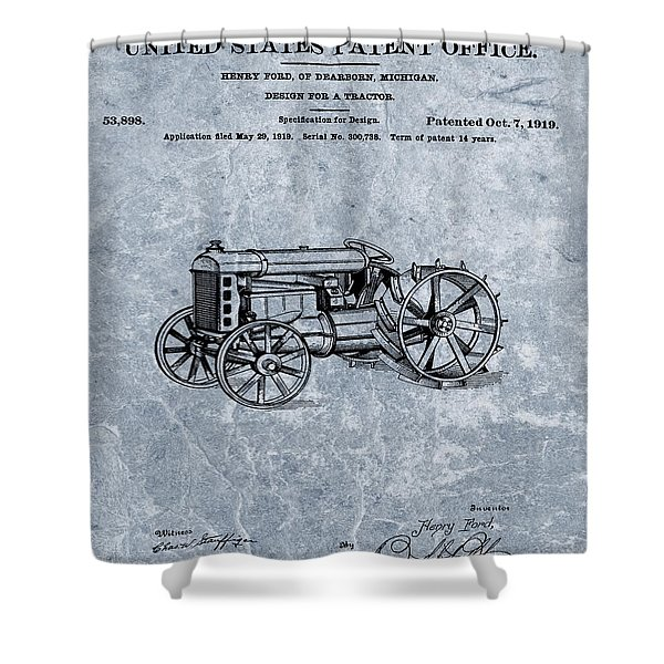 Henry Ford's Tractor Patent Cool Blue Shower Curtain
