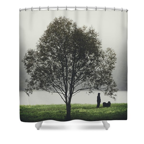 Her Life With A Dog Shower Curtain