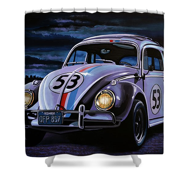 Herbie The Love Bug Painting Shower Curtain