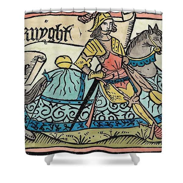 Here Begynneth The Knightes Tale, Illustration From The Canterbury Tales By Geoffrey Chaucer Shower Curtain