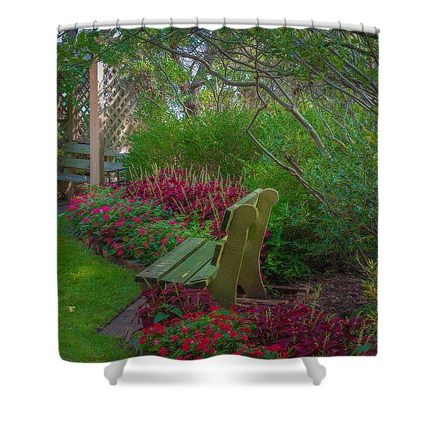 Hereford Inlet Lighthouse Garden Shower Curtain