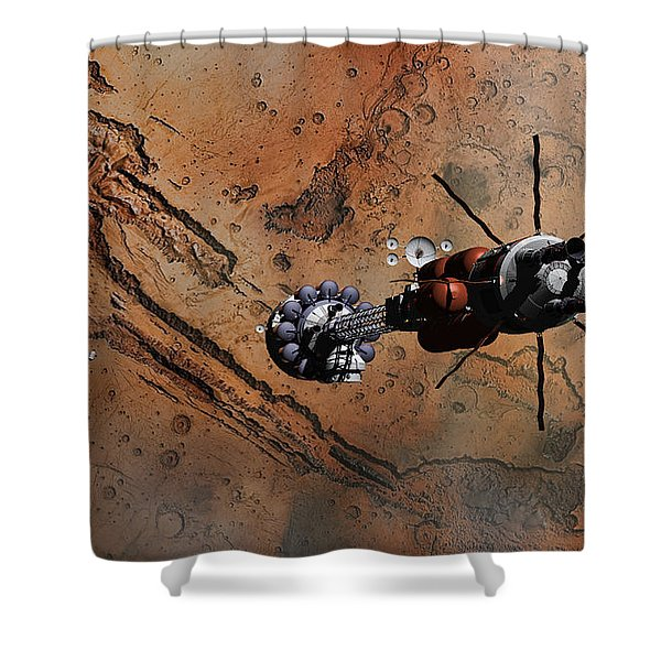 Hermes1 With The Mars Lander Ares1 In Sight Shower Curtain