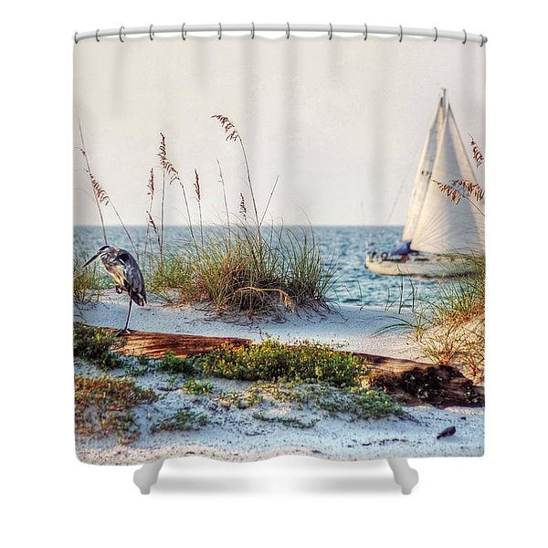 Heron And Sailboat Shower Curtain