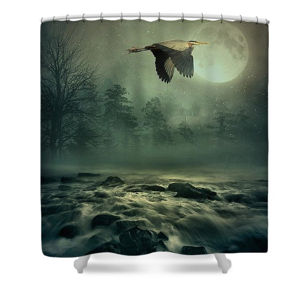 Heron By Moonlight Shower Curtain