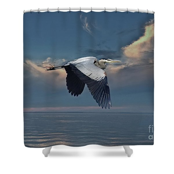 Heron Night Flight  Shower Curtain