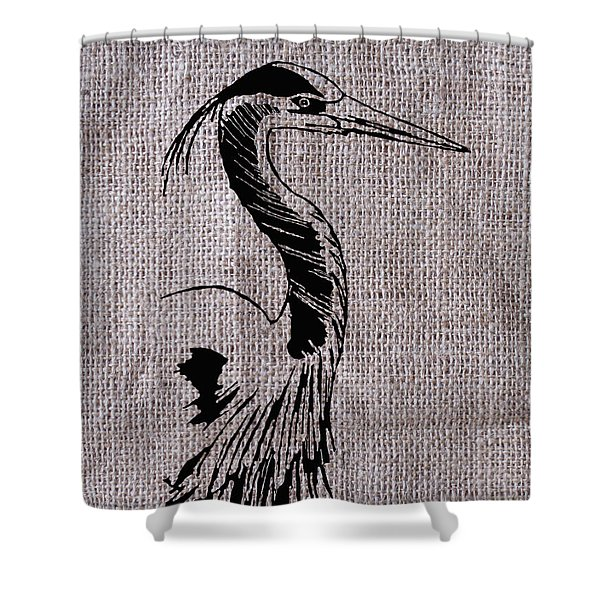 Heron On Burlap Shower Curtain