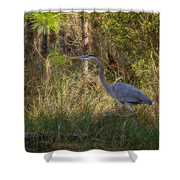 Heron On The Hunt Shower Curtain