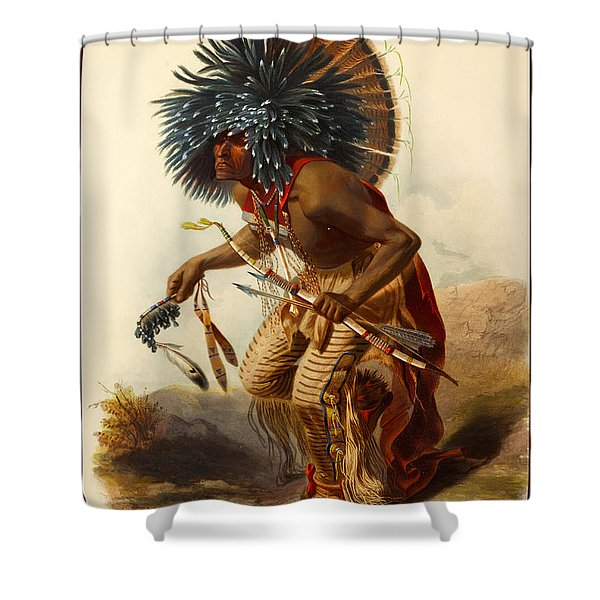 Hidatsa Warrior Shower Curtain