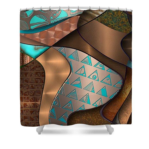 Hieroquoise Cupriglyphs Shower Curtain