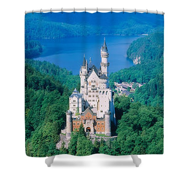 High Angle View Of A Castle Shower Curtain