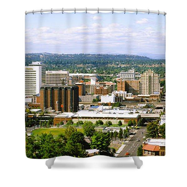 High Angle View Of A City, Spokane Shower Curtain