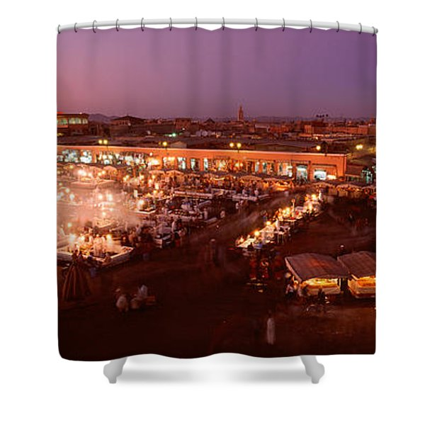 High Angle View Of A Market Lit Shower Curtain