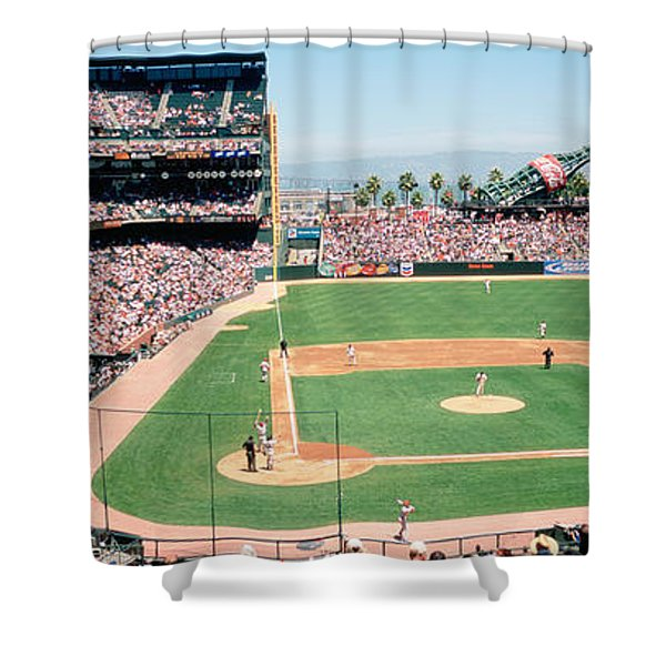 High Angle View Of A Stadium, Pac Bell Shower Curtain