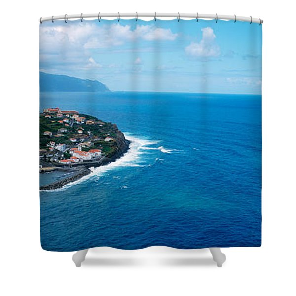 High Angle View Of An Island, Ponta Shower Curtain