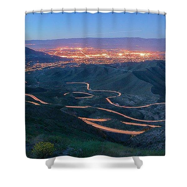 Highway 74 Palm Desert Ca Vista Point Light Painting Shower Curtain