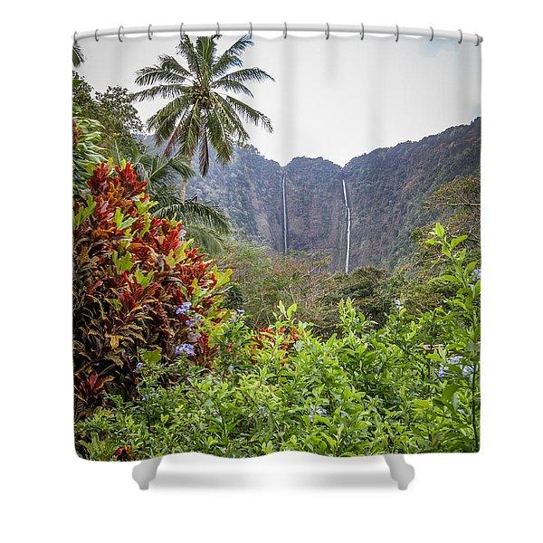 Hiilawe And Hakalaoa Falls Shower Curtain