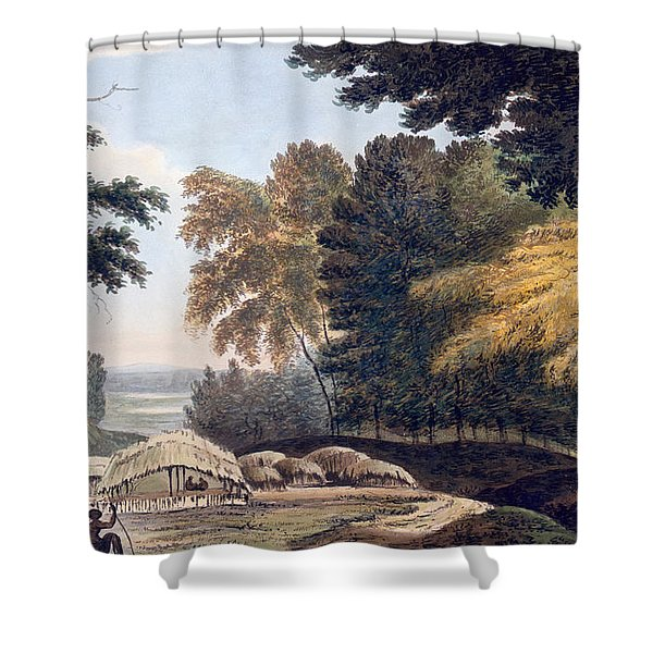 Hill Village In The District Of Bauhelepoor Shower Curtain