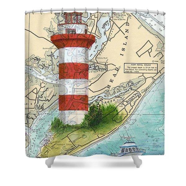 Hilton Head Island Lighthouse Sc Nautical Chart Map Art Cathy Peek Shower Curtain