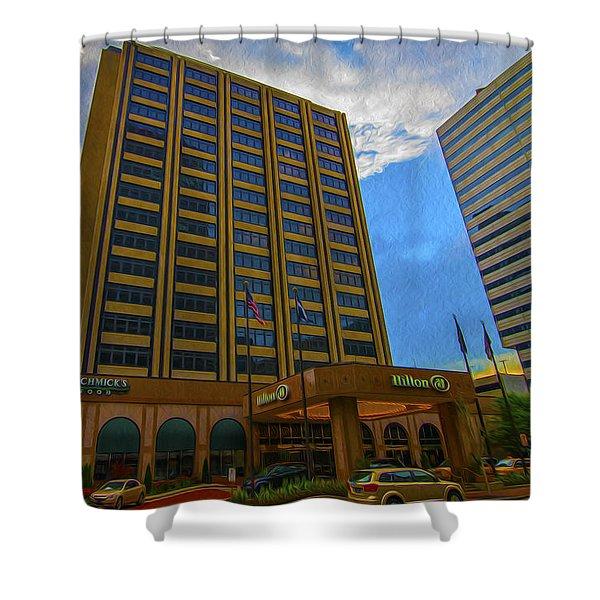 Hilton Hotel Indianapolis Indiana Painted Digitally Shower Curtain