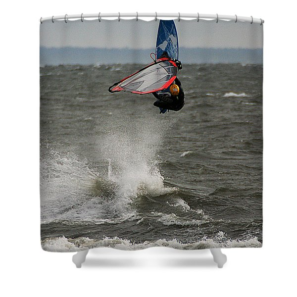 Hitting A Wave 1 Shower Curtain