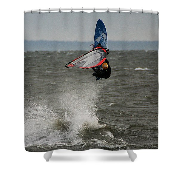 Shower Curtain featuring the photograph Hitting A Wave 1 by William Selander