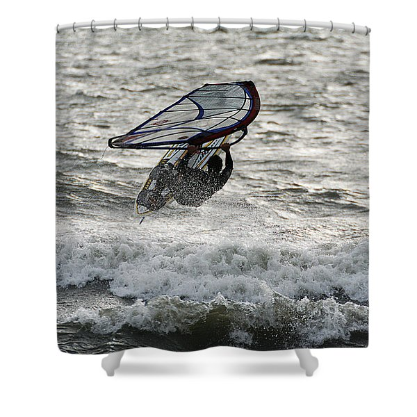 Shower Curtain featuring the photograph Hitting A Wave 2 by William Selander