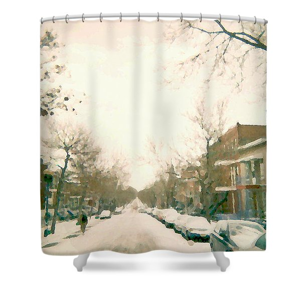 Hiver Psc Winter In The Point Snowy Day Paintings Montreal Art Cityscenes Brick Houses Snowed In Shower Curtain