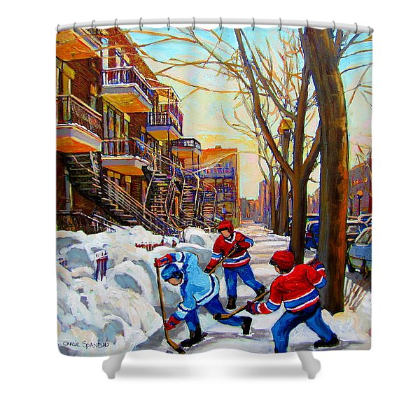Hockey Art - Paintings Of Verdun- Montreal Street Scenes In Winter Shower Curtain
