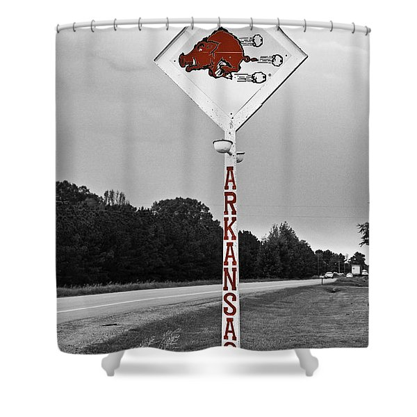 Hog Sign - Selective Color Shower Curtain