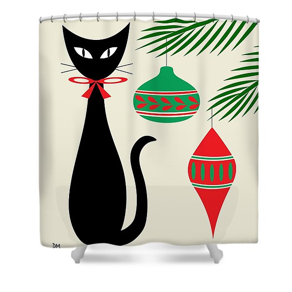 Holiday Cat On Cream Shower Curtain