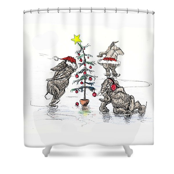 Holiday Ice Shower Curtain