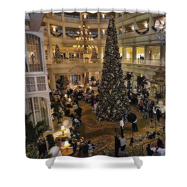 Holiday Time Panorama Walt Disney World Shower Curtain