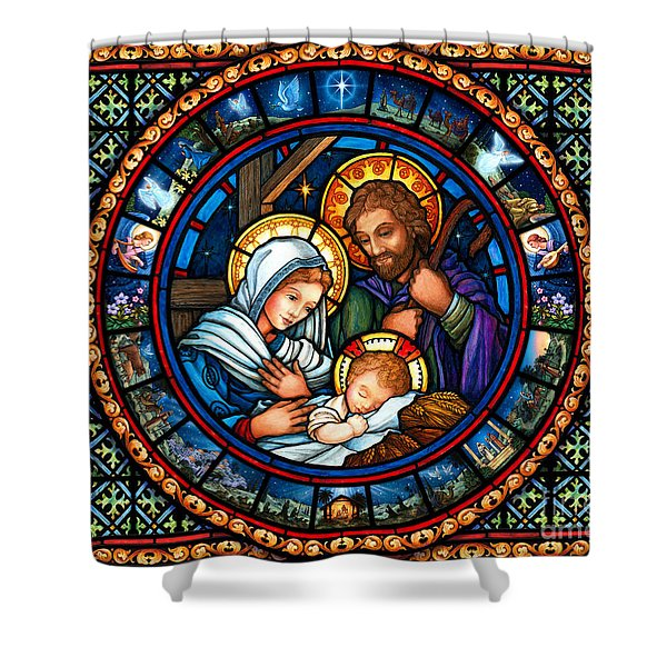 Holy Family Christmas Story Shower Curtain