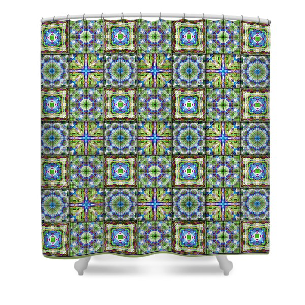 Homespun Jewels Quilted Squares Shower Curtain
