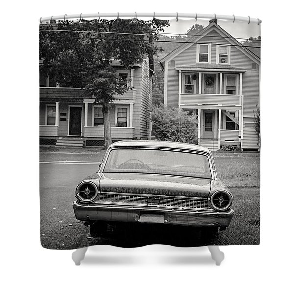 Hometown Usa Platium Print Shower Curtain