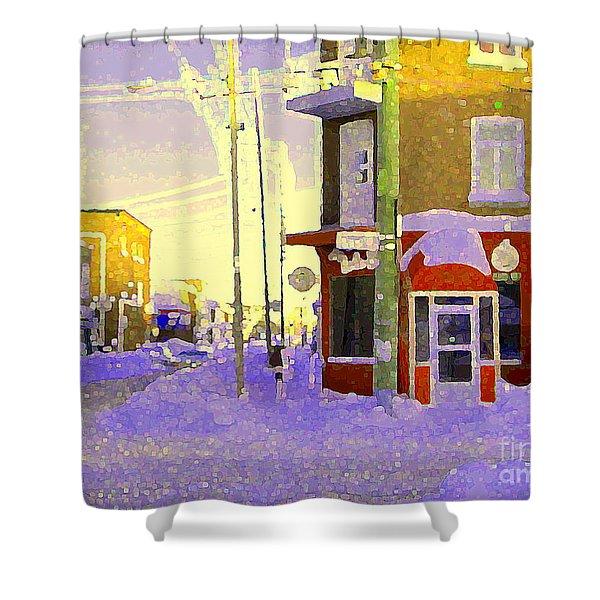Magical Verdun Winter Day Montreal Winter Urban Scenes Shower Curtain