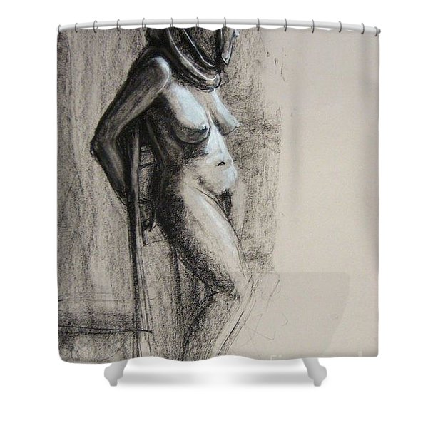 Shower Curtain featuring the drawing Hood by Gabrielle Wilson-Sealy