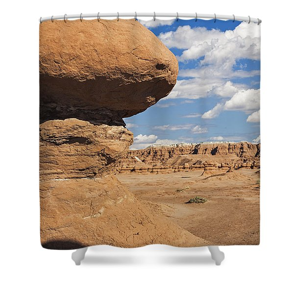 Shower Curtain featuring the photograph Hoodoo In Goblin Valley Utah by Bryan Mullennix