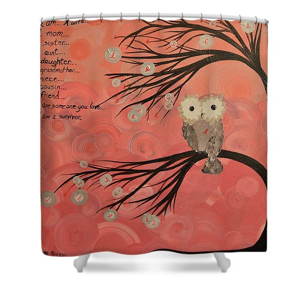 Hoo's Who Care - Find The Cure - Support Breast Cancer Awareness - Hoolandia #383 Shower Curtain
