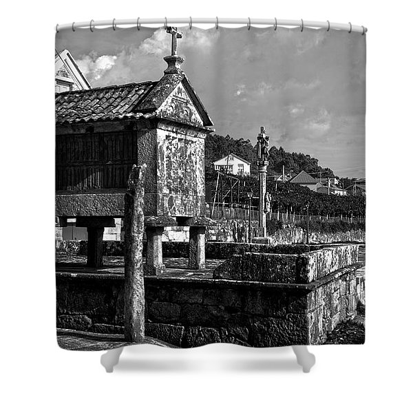 Horreo And Cruceiro In Galicia Bw Shower Curtain