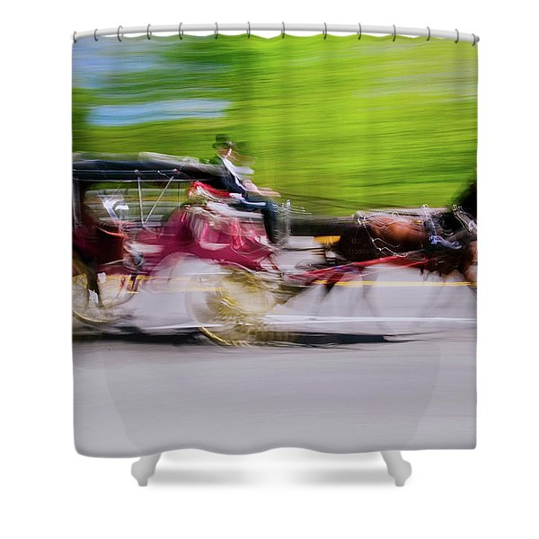 Horse And Carriage Drives In Traffic Shower Curtain