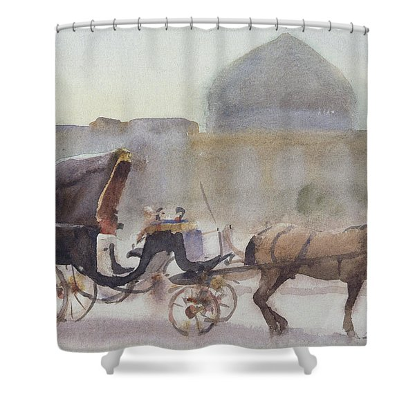 Horse And Carriage, Naghshe Jahan Square, Isfahan Wc On Paper Shower Curtain
