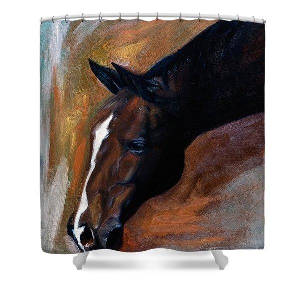 horse - Apple copper Shower Curtain
