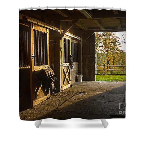 Horse Barn Sunset Shower Curtain