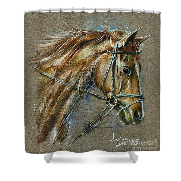 My Horse Face Drawing Shower Curtain